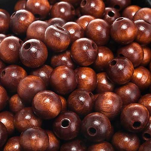 Grains chapelet simili coco marron ronds 2