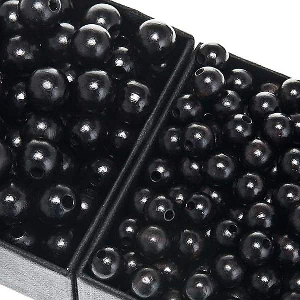 Rosary parts, round black wooden beads 4