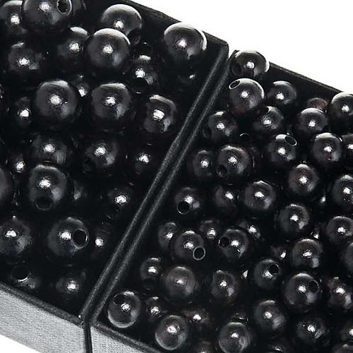 Rosary parts, round black wooden beads 1