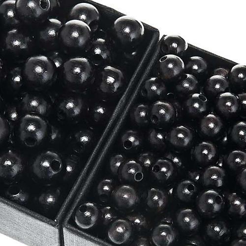 Contas terço madeira preto redondo 1