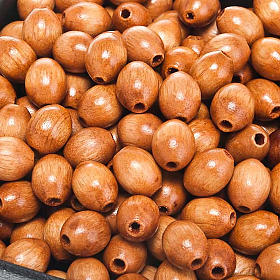 Contas terço madeira cor natural oval s1
