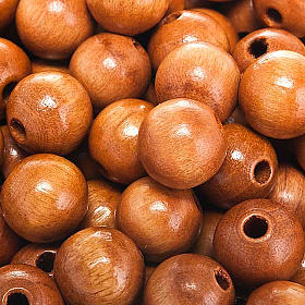 Koraliki różańca drewno kolor naturalny okrągłe s2