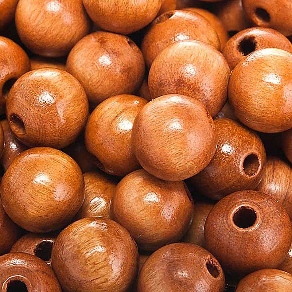 Contas terço madeira cor natural redondo 4