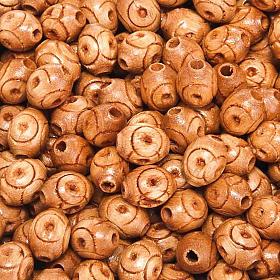 Grains chapelet bois naturel décoré ovale s1