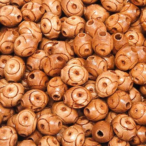 Grains chapelet bois naturel décoré ovale 1