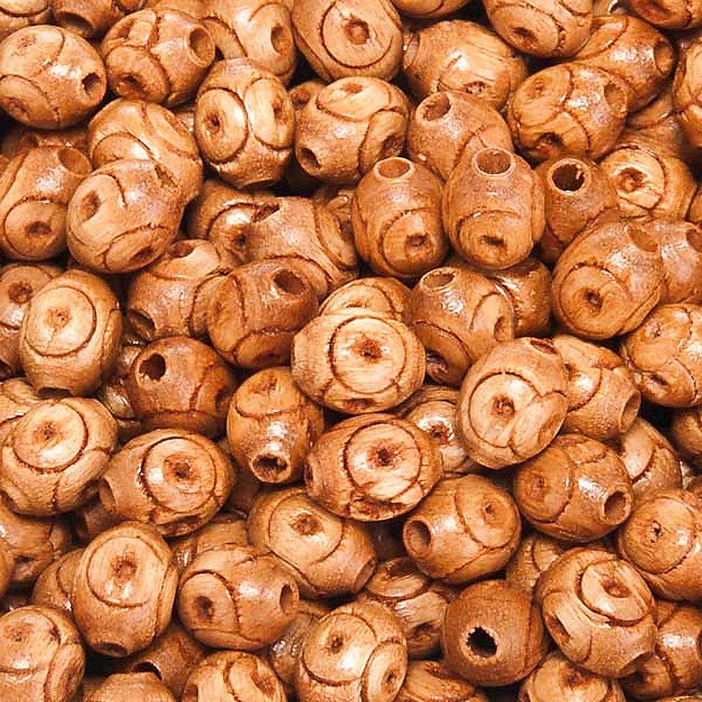 Contas terço madeira trabalhada natural oval 4