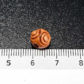 Rosenkranzperlen, aus Holz, mit Muster, braun, rund s2