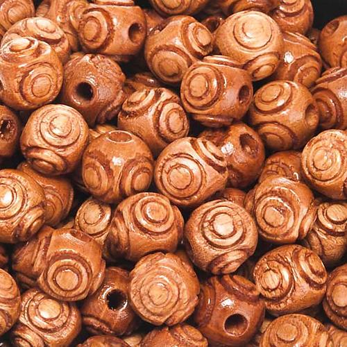 Rosenkranzperlen, aus Holz, mit Muster, braun, rund 1