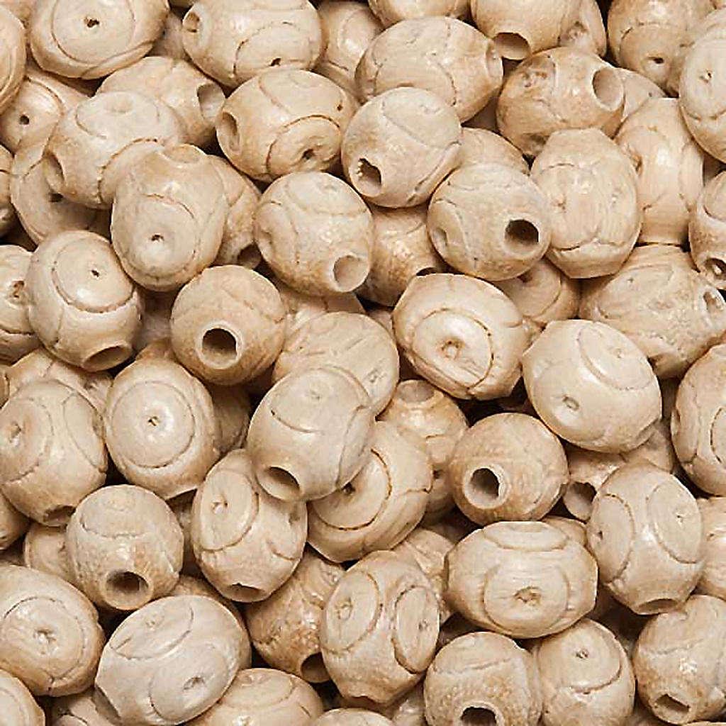 Grains chapelet gravés bois d'hêtre ovales 4
