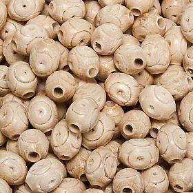 Grains chapelet gravés bois d'hêtre ovales s1