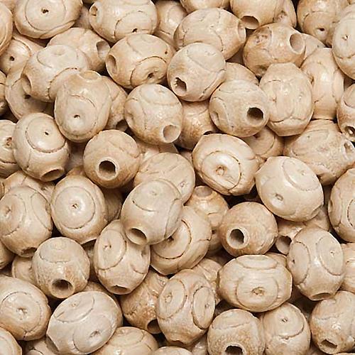 Grains chapelet gravés bois d'hêtre ovales 1