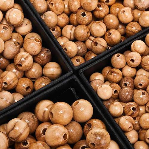 Rosenkranzperlen, aus Olivenholz, rund 1