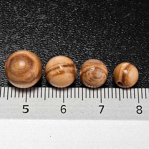 Rosenkranzperlen, aus Olivenholz, rund 3