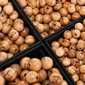 Peças para Montagem de Terços: Contas em oliveira redondas