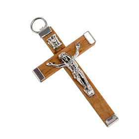 Croce legno corpo e retro metallo rosari fai da te s1