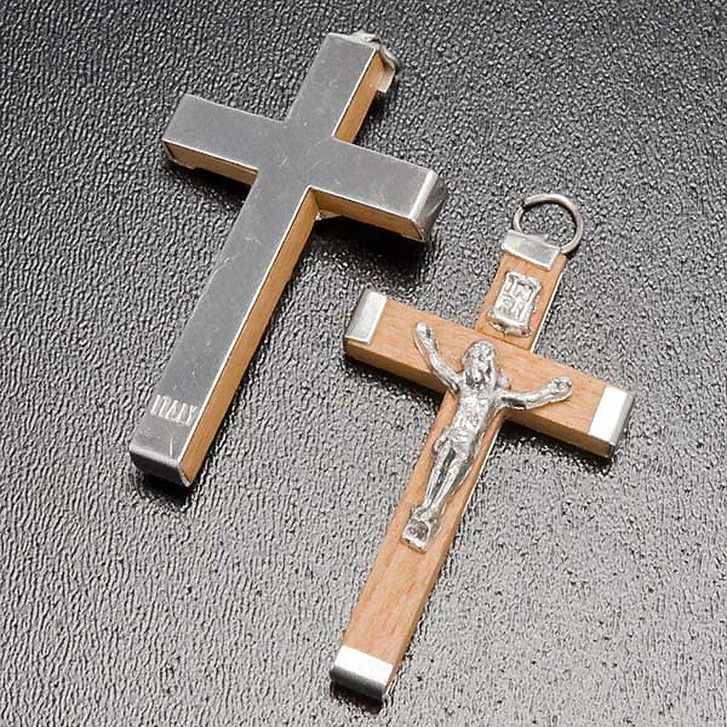 Cruz madeira corpo e verso metal bricolage terço 4