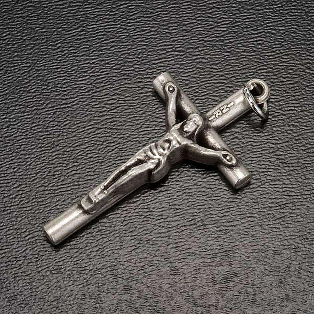 Croce per rosari metallo argentato con anello passacatena 4