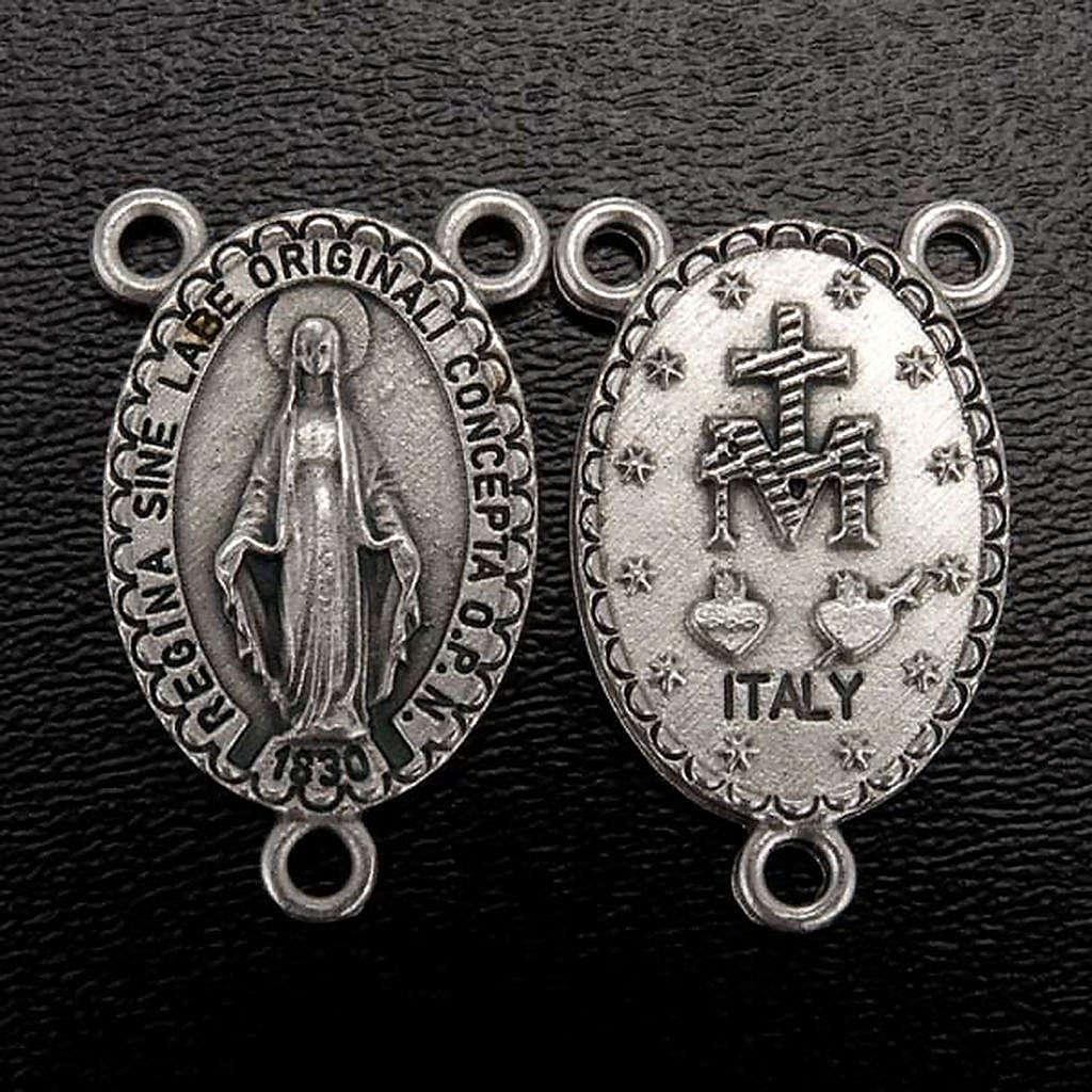 Pieza central oval para la fabricación de rosarios Virgen 4