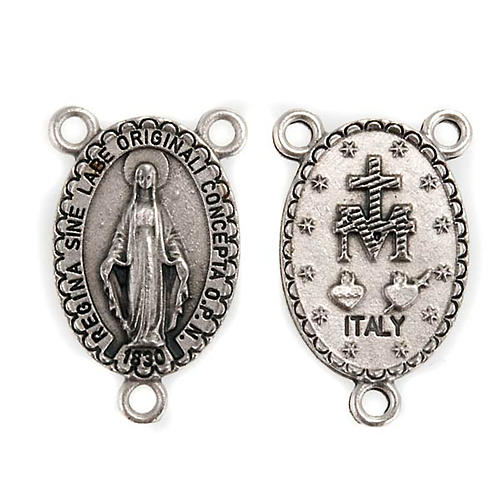 Pièce centrale ovale accessoire chapelets Vierge miraculeuse 1