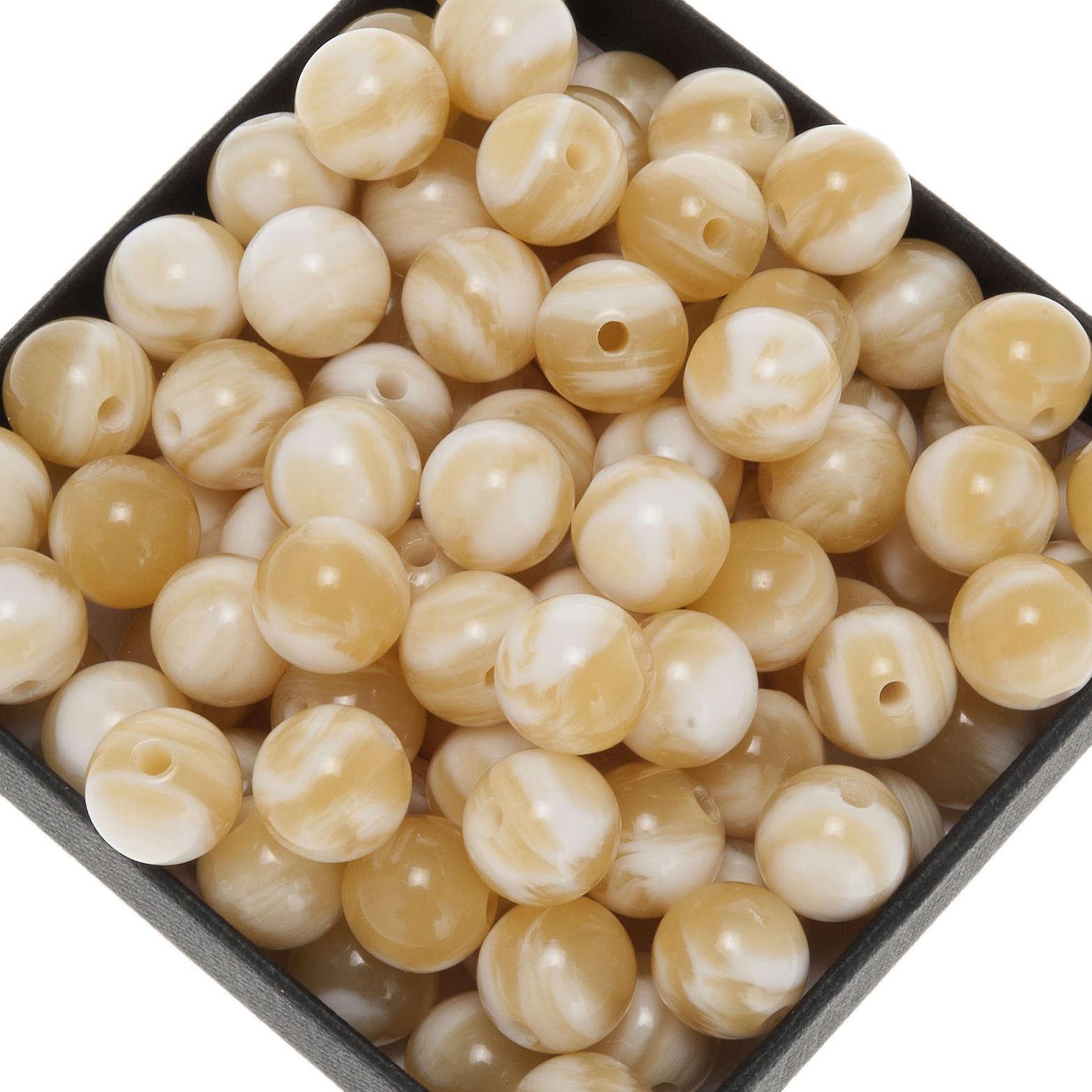 Grani per rosari imitazione corno chiaro tondo 9 mm 4