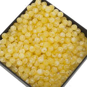 Chapelet à faire soi-même: Grains chapelet imitation soie jaune ronds 5mm