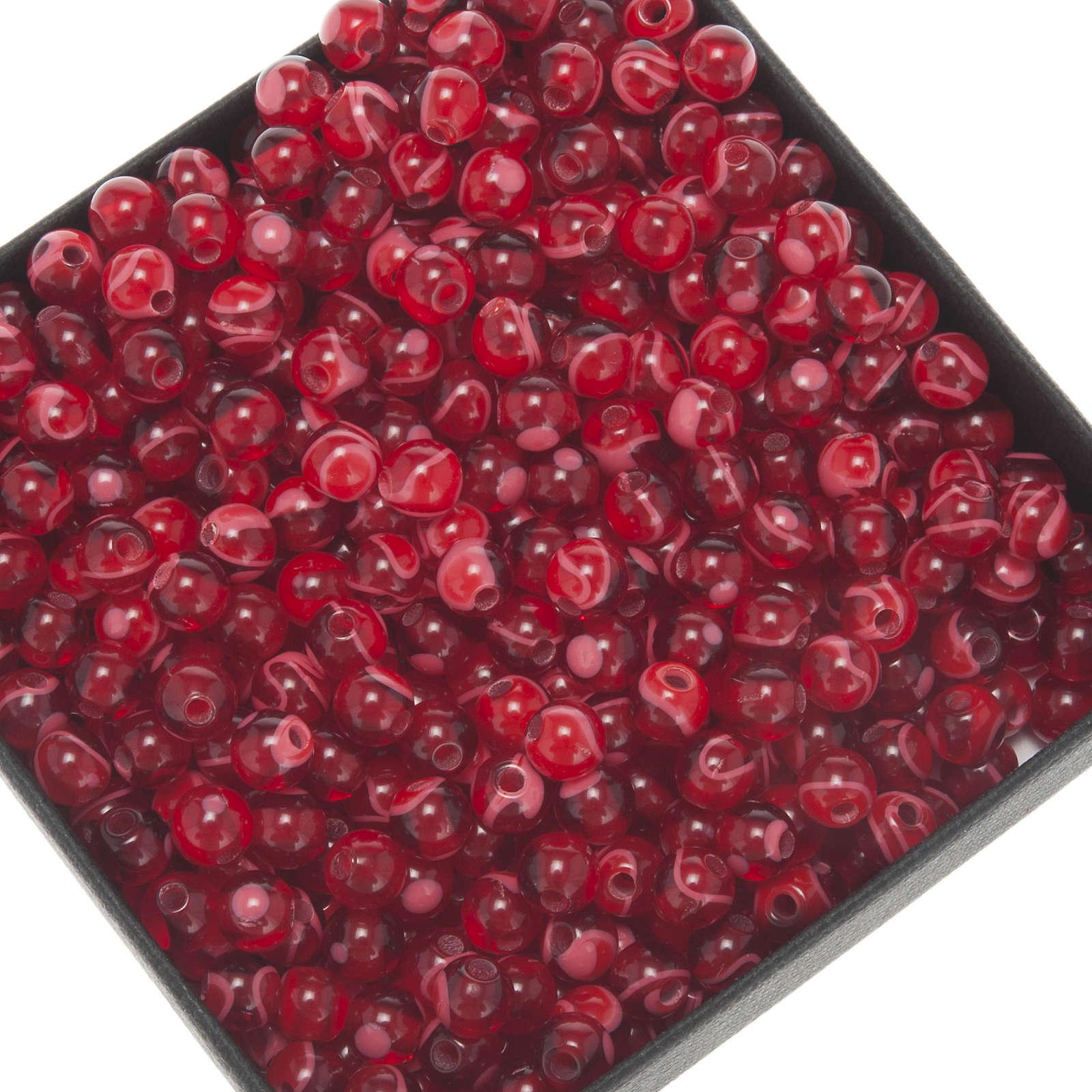 Grani rosari fai da te imitazione seta rosso 5 mm 4