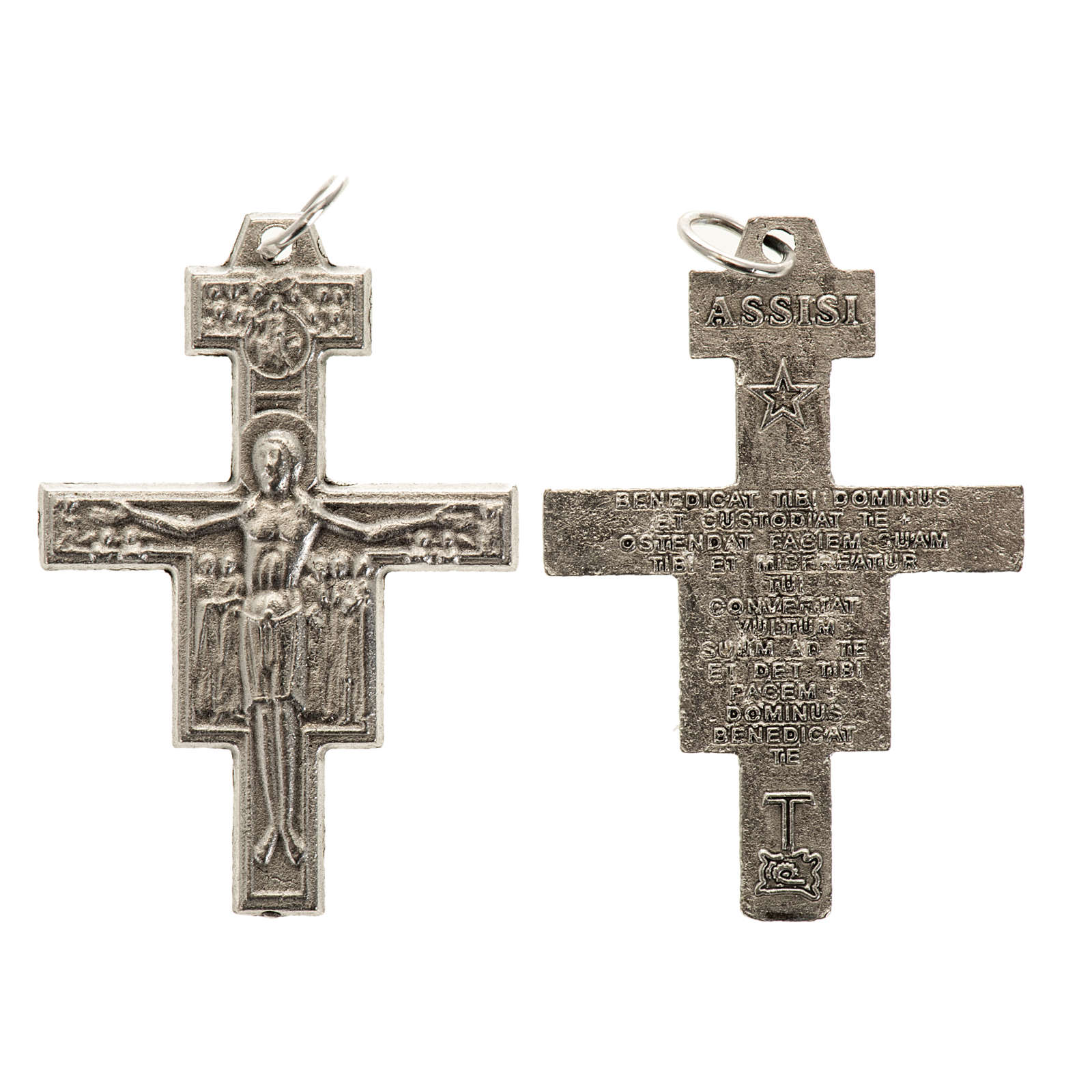Saint Damien cross for rosary in silver metal H3.6cm 4