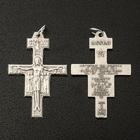 Saint Damien cross for rosary in silver metal H3.6cm s2