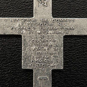 Saint Damien cross for rosary in silver metal H3.6cm s3