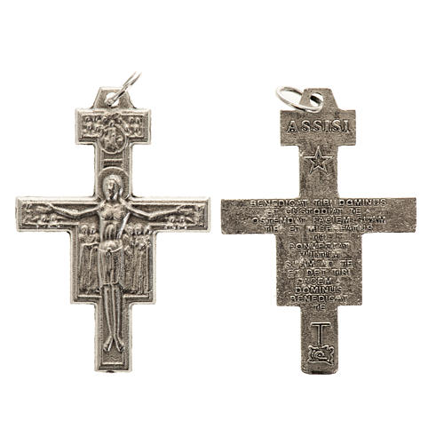 Saint Damien cross for rosary in silver metal H3.6cm 1