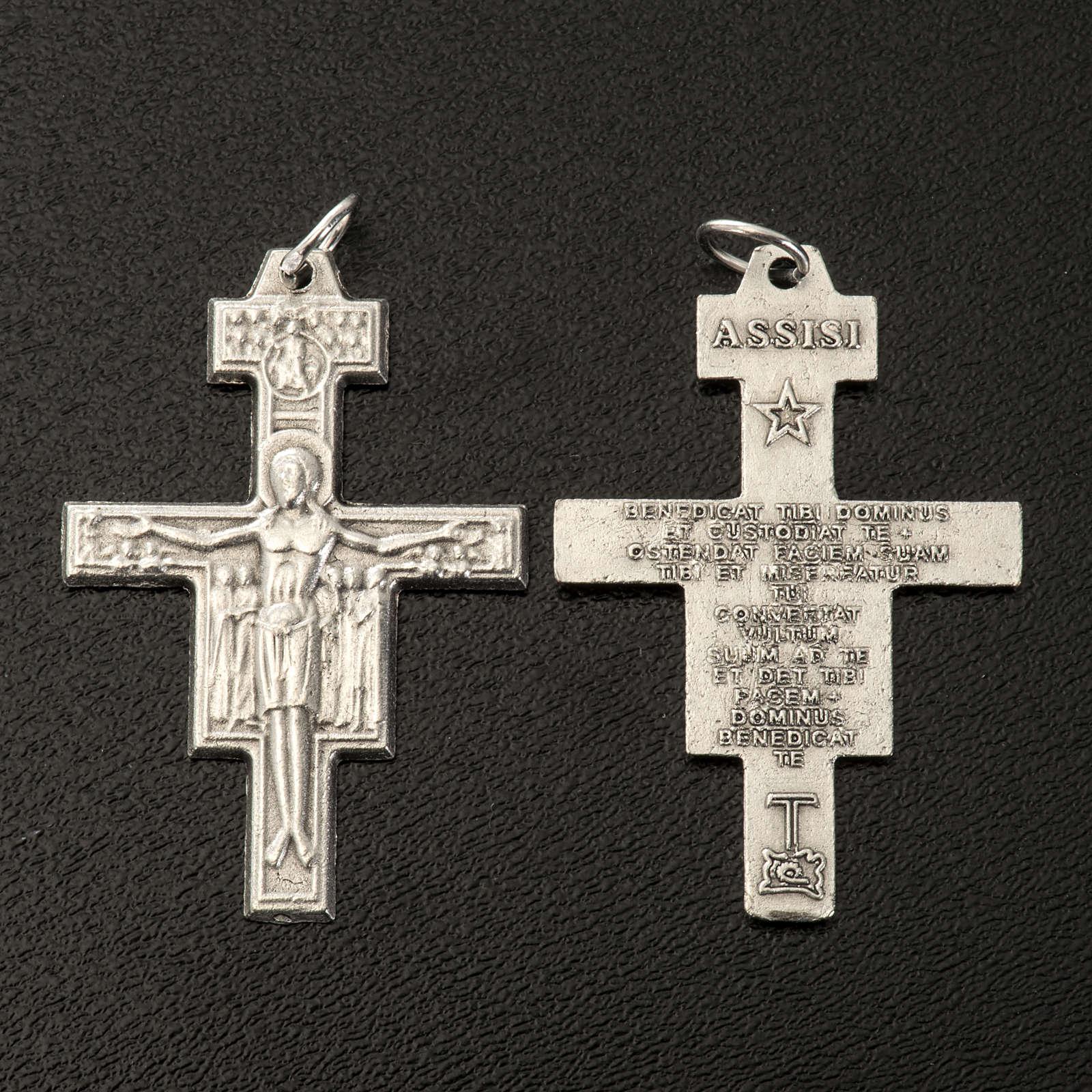 Croix chapelet St Damien métal argenté 3.6 cm 4