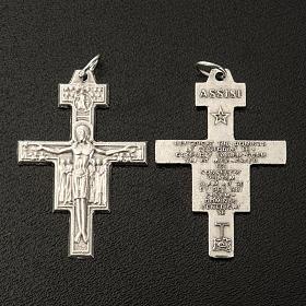Croix chapelet St Damien métal argenté 3.6 cm s2