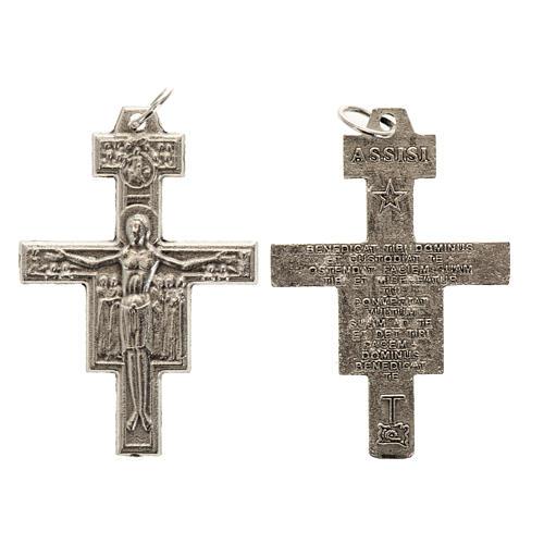 Croix chapelet St Damien métal argenté 3.6 cm 1