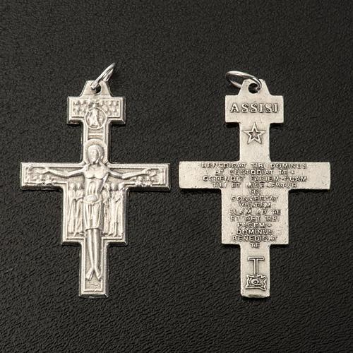 Croix chapelet St Damien métal argenté 3.6 cm 2