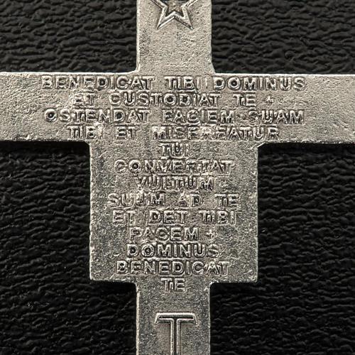 Croix chapelet St Damien métal argenté 3.6 cm 3