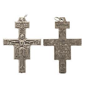 Saint Damien cross for rosary in silver metal H3.6cm s1