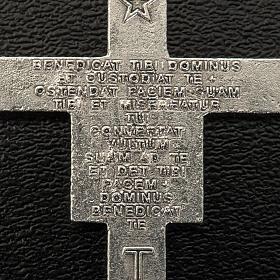 Saint Damien cross for rosary in silver metal H3.6cm s3