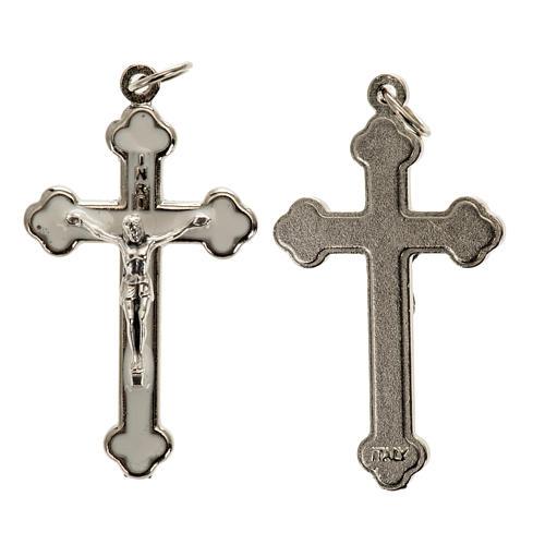 Croce rosari fai da te metallo argentato smalto bianco h 3.6 cm 1