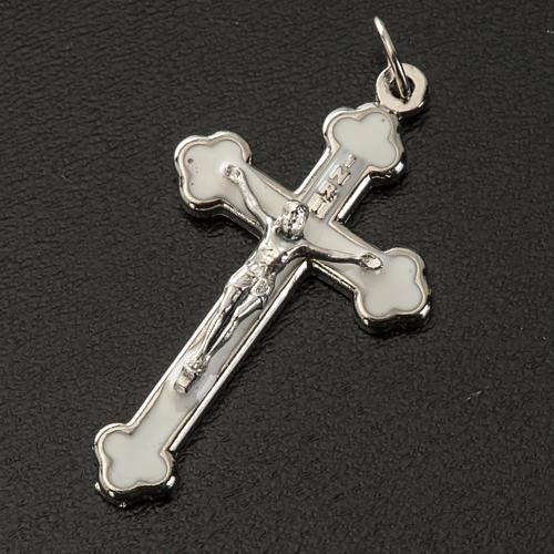 Croce rosari fai da te metallo argentato smalto bianco h 3.6 cm 2