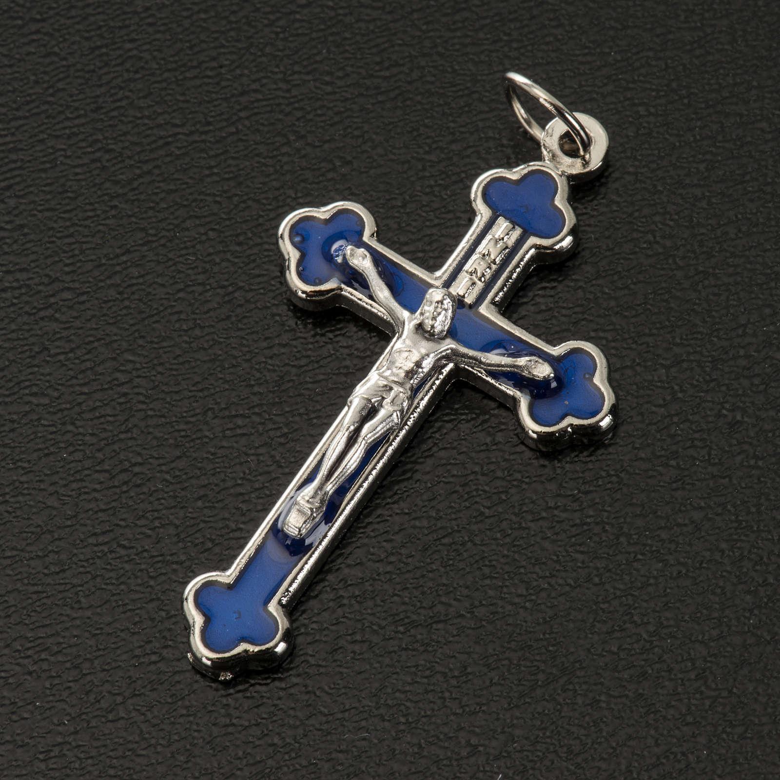 Croce rosari fai da te metallo argentato smalto blu h 3.6 cm 4