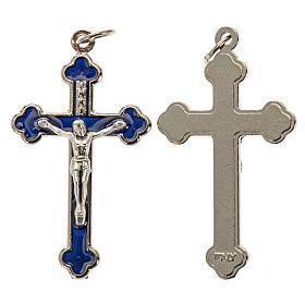 Croce rosari fai da te metallo argentato smalto blu h 3.6 cm s1