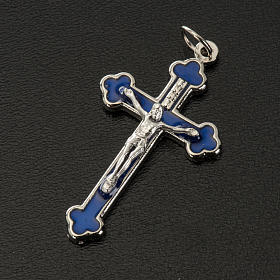 Croce rosari fai da te metallo argentato smalto blu h 3.6 cm s2