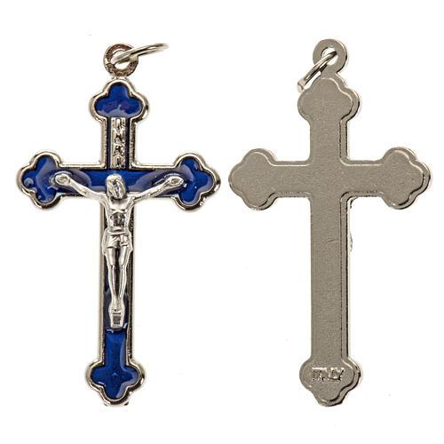 Croce rosari fai da te metallo argentato smalto blu h 3.6 cm 1