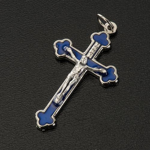 Croce rosari fai da te metallo argentato smalto blu h 3.6 cm 2