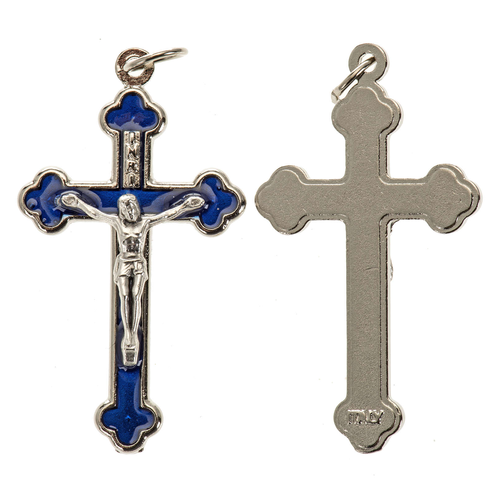 Cross for do-it-yourself rosary in silver metal and blue enamel 4
