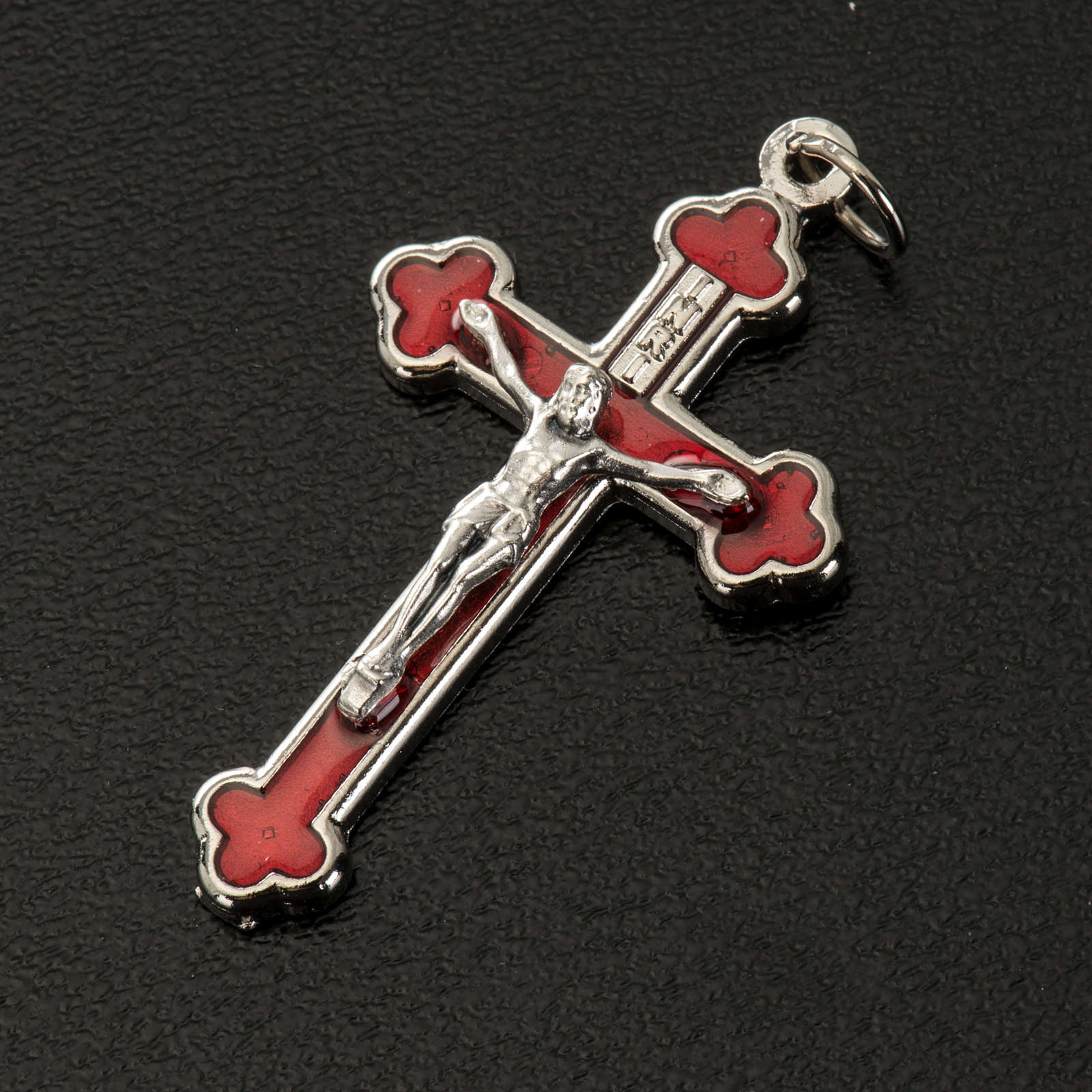 Croce rosari fai da te metallo argentato smalto rosso h 3.6 cm 4