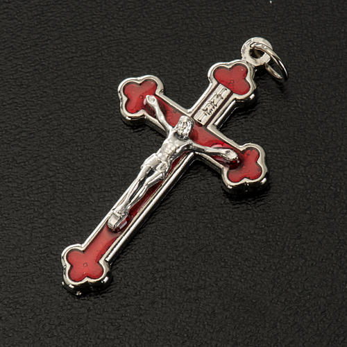 Cross for do-it-yourself rosary in silver metal and red enamel H 2