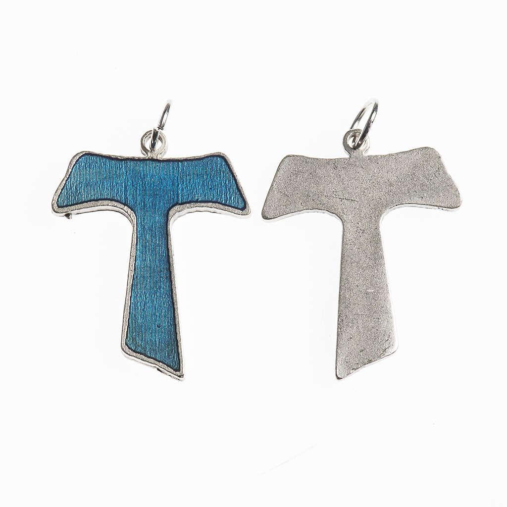 Croce Tau 26 mm galvanica argento antico smalto azzurro 4