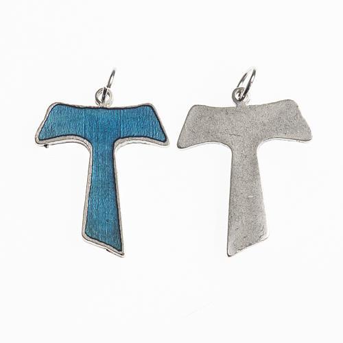 Croce Tau 26 mm galvanica argento antico smalto azzurro 1