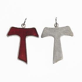 Croce Tau 26 mm galvanica argento antico smalto rosso s1